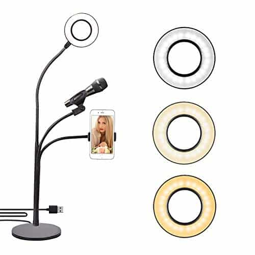 Selfie Ring Light with Cell Phone Holder Stand & Mic Stand
