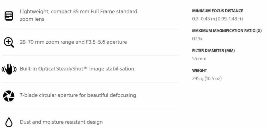 Main Characteristics of Sony FE 28-70mm