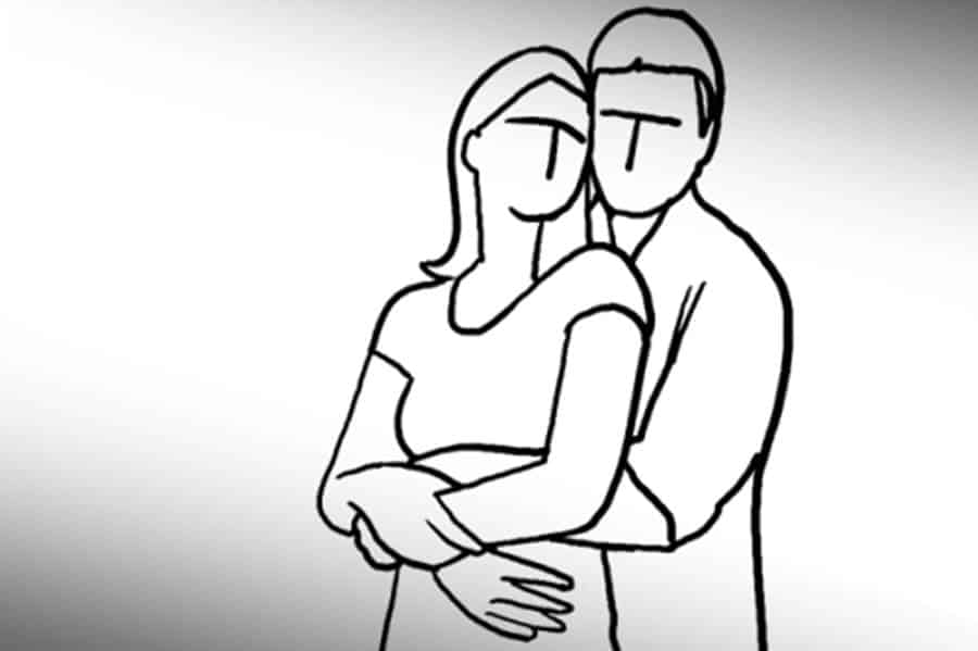Pose 3: Man stands behind and hugs her waist