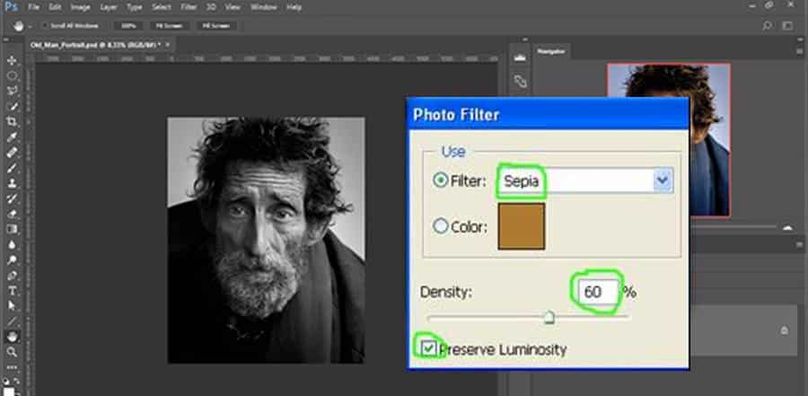 Sepia Effect Filter in Photoshop