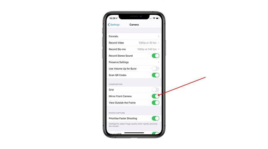 Turn off Mirroring on iPhone's Front Camera