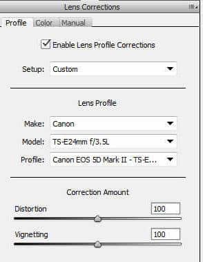 Lens Corrections tab