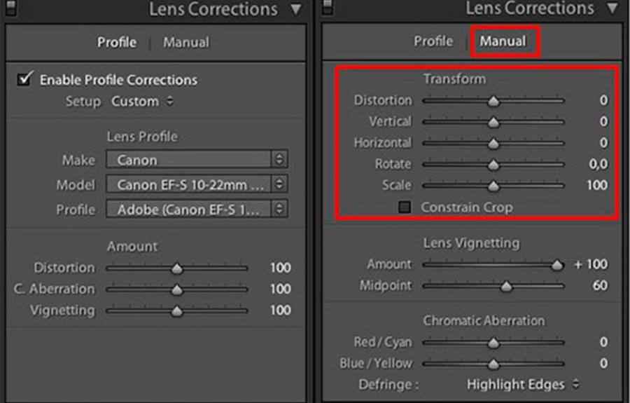 Lens Distortion Correction in Lightroom