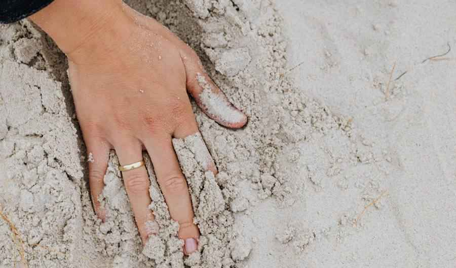 handprint and engagement ring